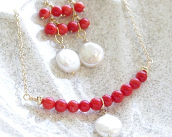 Coral Jewelry Set Red Coral Necklace and Earrings Coin Pearl Jewelry Coral Set 14kt Gold Filled 35th Anniversary Gift Pearl Jewelry