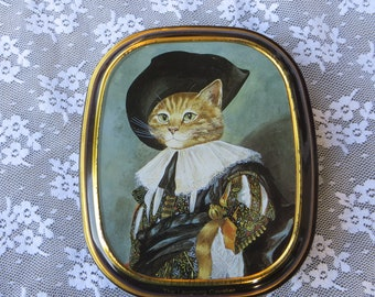 The Laughing Cavalier Small Tin Candy Box The Cats Gallery from Bentley's of London Small Metal Box with Lid cute Cat in a Fancy Hat
