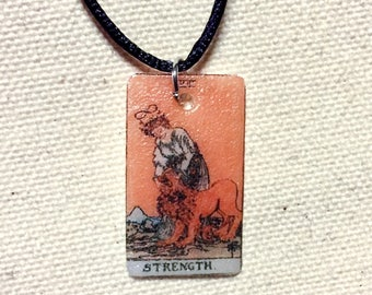 Strength Tarot Card Necklace (orange)