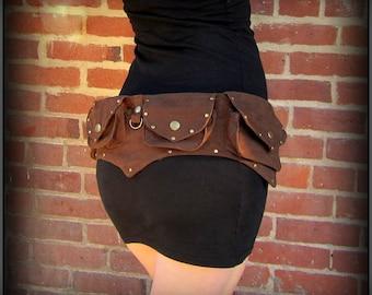 Steampunk belt bag ~ vegan canvas utility belt with pockets, hip belt bag, unisex men women, cosplay festival belt, Burning Man Pocket Belt