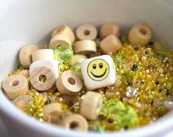 Yellow destash Bead Mix #52 - 100 grams