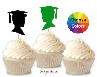 Boy Graduation Cupcake Toppers Straw Toppers DIY Graduation Decor Table Decoration Party Supply 2.5 Inch Set Of 15 Pick From 20 Colors