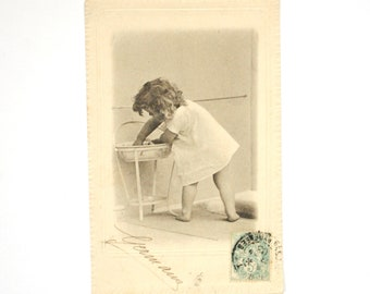 Rare old postcard 1900 s pretty little girl curly hair - dress white doll romantic Victorian black and white photography