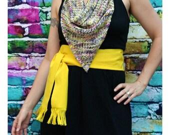 Bright Yellow Sash, SA01 - Bohemian Belt - Guatemalan Fabric - Woven Sash - Reenactment Clothing - LARP Belt - Gypsy Sash