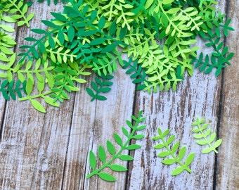 300 Ferns Paper Green Leaf punch 3 sizes die cuts, confetti scrapbook, mix die cuts, decorations, scrapbooking, weddings, confetti