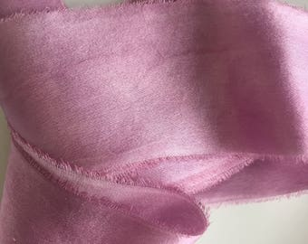 hand-dyed silk, charmeuse ribbons in old rose, stationery ~ weddings ~ bouquets ~ gifts ~ paper crafts ~ styling ~ satin