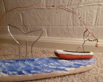 Driftwood Art, Driftwood sculpture, Whale, Fishing boat, Catching a Whale, Driftwood Wire, Wire Art, Fishing, Port Orford, Large Fish, Ocean