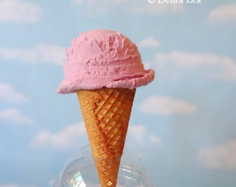 Fake Ice Cream Strawberry Realistic Faux Scoop Sugar Waffle Cone Prop Decor