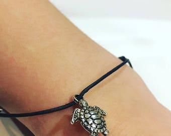 Leather cord turtle charm bracelets - turtles, turtle charm, sea creatures, charm bracelet