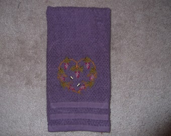 Embroidered ~GRAPEVINE HEART~ Plum Kitchen Hand Towel