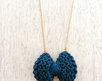 Bow - cotton blue and gold metal - Agathe and Ana necklace