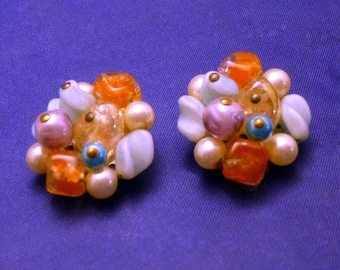 Vintage Circle Cluster Beads Clip On Earrings, 1960s
