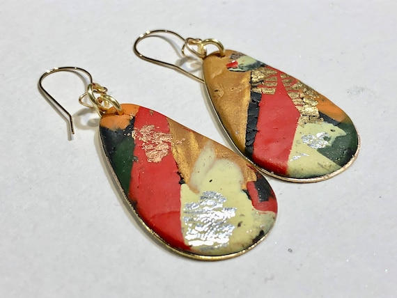 SJC10045 - Earrings - multi color red yellow gold contemporary handmade polymer clay on drop shaped piece with 14 k gold plated ear wire