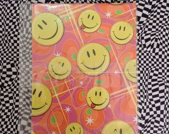 Happy Times~Smilie Face~Vintage~90's~Gift Wrap~Wrapping Paper~Birthday~Gift~70's