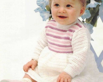 PDF Crochet Pattern Baby Girl Dress Pattern /3-ply /3 months/ Instant Download Vintage Crochet Pattern- A404