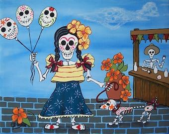 Balloons at the Fair Folk Art Day of the Dead DOD Illustrated Art Print Poster Art Ellison Multiple Sizes available