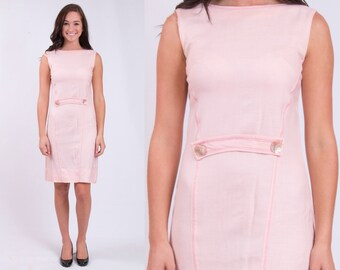 Vintage 1960s Baby Pink Preppy Shift Dress * Size x-small – small * Free Shipping