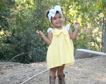 Baby Boho Dress, Toddler Boho Dress, Yellow Baby Dress, Girls Summer Dress, Girls Yellow Dress, Baby Dress, Toddler Dress, Baby Summer Dress
