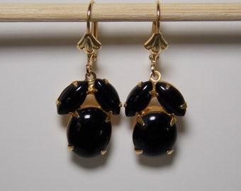 Vintage Black Glass Earrings