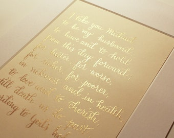 A4 | Personalised wedding vows handwritten in sparkling gold calligraphy ink
