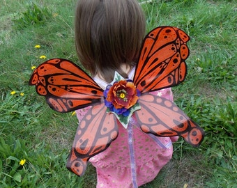 Sale Orange and Black Monarch Butterfly Pattern Fairy Wings with adjustable straps, Adult Fairy Wings, Fairy Cosplay