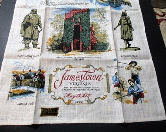 1970 's Kay Dee Hand Prints Pure Linen Jamestown Virginia Souvenir Tea Kitchen Towel