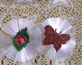 Set of 2 Vintage Spun Glass Ornaments - Floral Spray and Red Dresden Butterfly