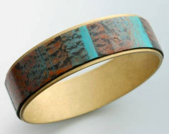 Bangle Bracelet. Brass and polymer clay veneers.