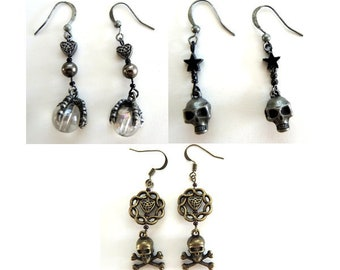 Style Choice -Ball and Claw or Skull Pierced Dangle Earrings Goth Halloween