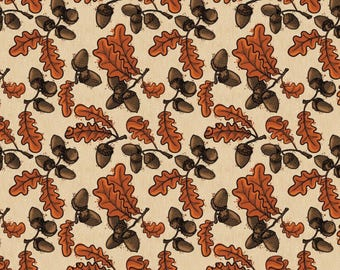 "Acorn Fabric, Leaf Fabric: Acorns, Oak, Leaves by Patrick Lose Autumn  100% cotton fabric by the yard 36""x43"" (N288)"