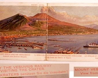 Vintage Souvenir Travel Fold Out Mt Vesuvius and Railway Eremo Hotel Postcard
