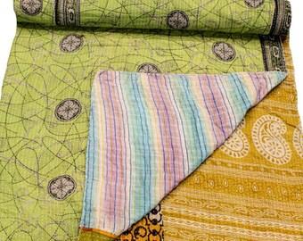 A Vintage Handmade Kantha Quilt, Boho Bedding, Vintage quilt, Kantha Throw, Reversible Quilt VKQ1707