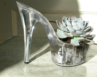 succulent planter made from a platform stiletto