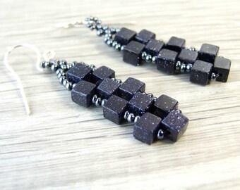 Dark Blue Earrings Blue Goldstone Earrings Geometric Cube Earrings Beaded Jewelry Sterling Silver Midnight Blue Jewelry Gift For Her Unique