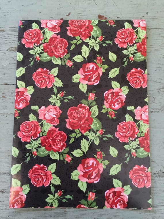 Rose floral print wrapping paper red rose folded wrapping paper rose floral print wrapping paper red rose folded wrapping paper gift wrap 68x50cm from buybuyblackbird on etsy studio mightylinksfo