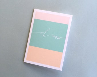 50% off / OH WOW calligraphy color block card