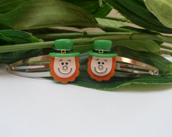 Irish Leprechaun Hair Barrettes, St Patricks Day Hairclips, Novelty Hairclips, girls barrettes, hair accessories