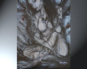 Print Nude Sad Woman Tree Woman 24x36
