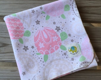 Luxury Receiving Blanket - Pink Turtles