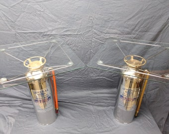 Pair of 1959 Quick Aid stainless steel fire extinguisher end tables