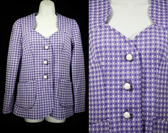 7 Dollar Sale---Vintage 60's Purple & White Checker Like Patterned Jacket M