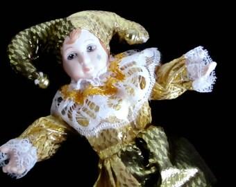 Vintage 1990s Harlequin Jester Porcelain Clown Doll