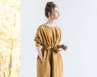 Oversized loose fitting linen dress with DROP SHOULDER long sleeves in amber yellow / Washed linen tunic