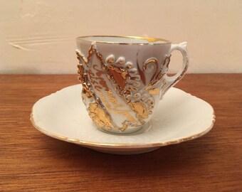 Vintage Presentation Demitasse Cup & Saucer White w/ Gold Trim