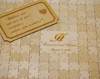 39 Pieces Custom Wedding puzzle - Wedding Guest Book Puzzle -Guest Book Alternative  (P3D39)