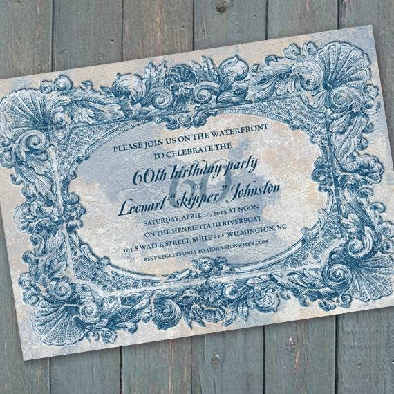 birthday party invitation, coastal party invitation, weathered Hampton invitation, 60th birthday party invitation, beach front wedding