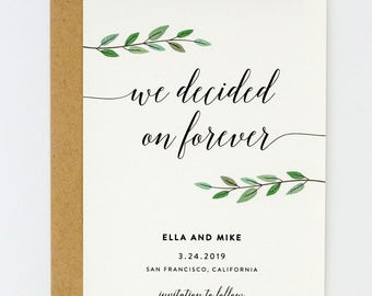 Greenery Wedding Save the Date, Chic Calligraphy Wedding Save the Date, Modern Save the Date -  (Ella Suite)