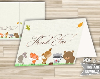 Baby Shower Thank You Card Woodland - Printable Thank You Card Animals - Forest Animals Thank You Card - Instant Download - w1