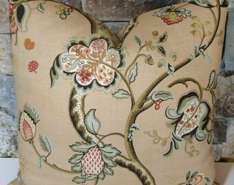 """Rambling Vines Linen Tarragon//Robert Allen Linen Pillow// 24"""" Pillow Cover"""