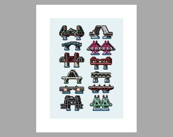 8Bit Portland Bridges Art Print